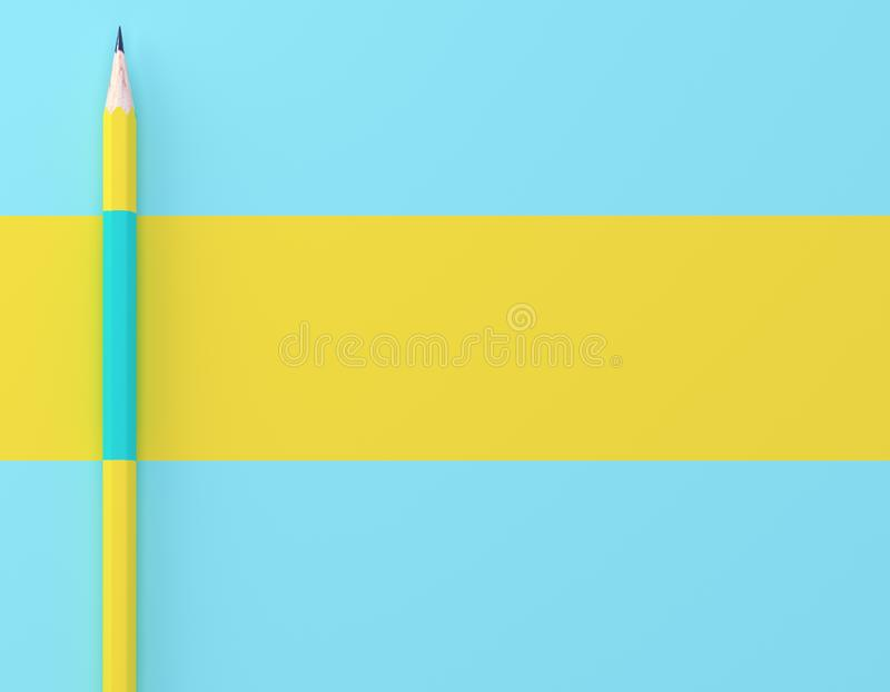 Creative idea layout made of yellow pencil contrast blue pastel background. Minimal template with copy space by top view. royalty free stock photo