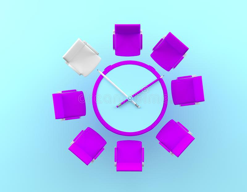 Creative idea layout pencil clock and difference of the white chair on blue background. Minimal business concept.  royalty free stock photography