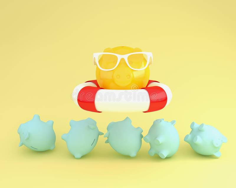 Creative idea layout of piggy and sunglasses with blue pool floating above piggy bank other on yellow pastel background. minimal. Business finance concept royalty free illustration