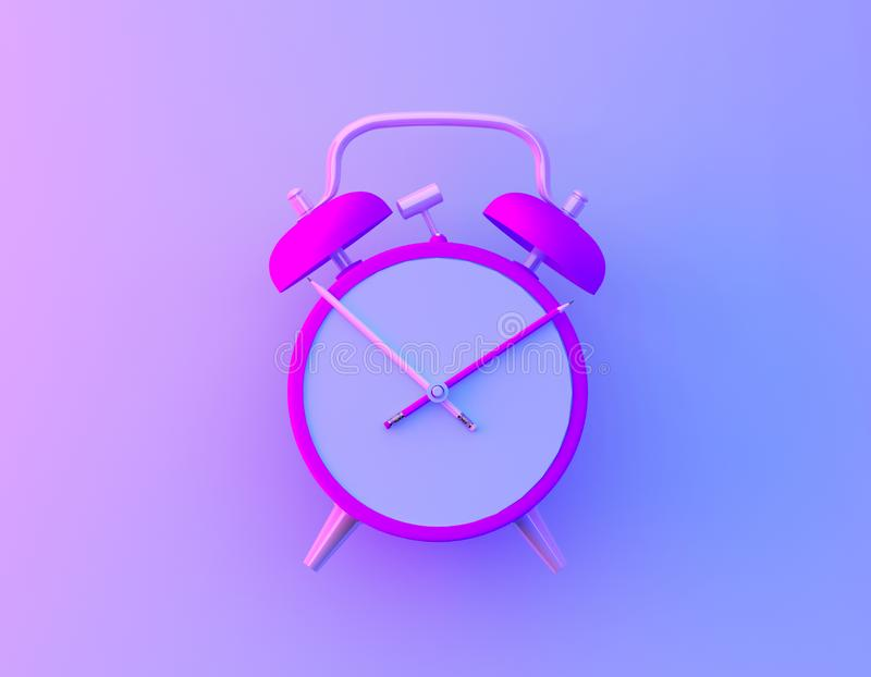 Creative idea layout slice alarm clock and pencil in vibrant bold gradient purple and blue holographic colors background. Minimal. Business and education royalty free illustration