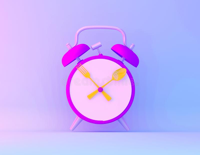 Creative idea layout slice alarm clock in vibrant bold gradient purple and blue holographic colors background. Minimal business. Concept vector illustration