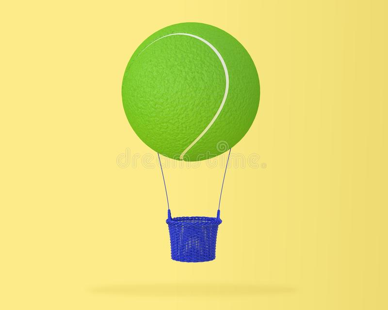 Creative idea layout of tennis ball big hot air balloon on paste. L yellow background. minimal idea design sports and recreation concept. happy holiday flying stock illustration