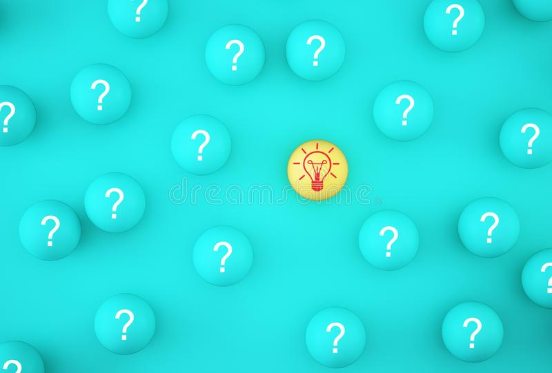 Creative idea of leader with idea and innovation to clever. Arrange outstanding  icon light bulb symbol with yellow sphere on blue. Creative idea of leader with royalty free illustration