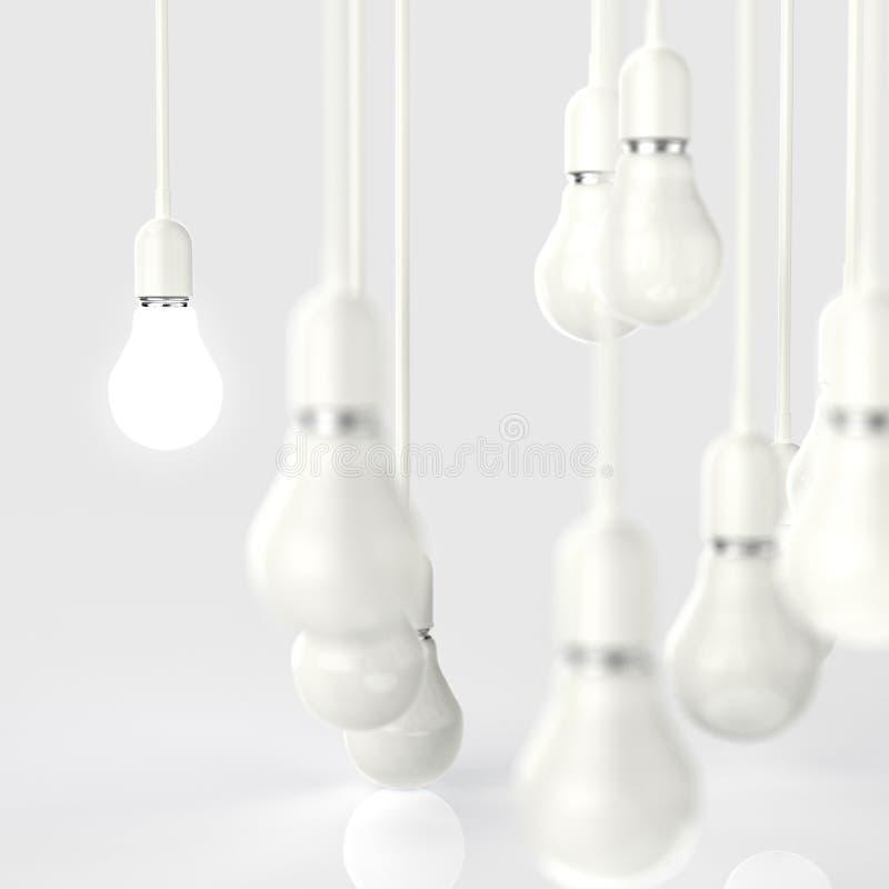 Creative idea and leadership concept light bulb. 3d design stock photography
