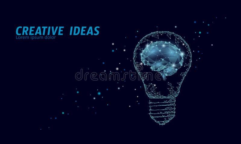 Creative idea light bulb night star sky. Low poly polygonal business brainstorm startup dark blue space modern geometric royalty free illustration