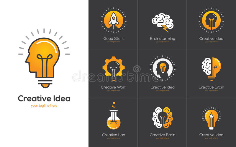 Creative idea logo set with human head, brain, light bulb. stock illustration