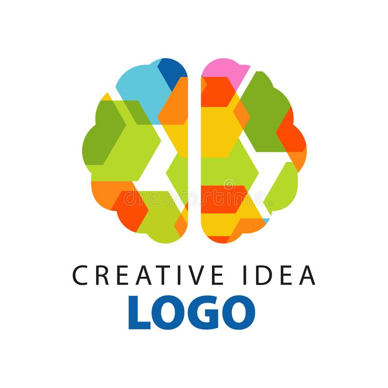 Creative idea logo template with abstract colorful flat brain top view. Education business or developing center label vector illustration