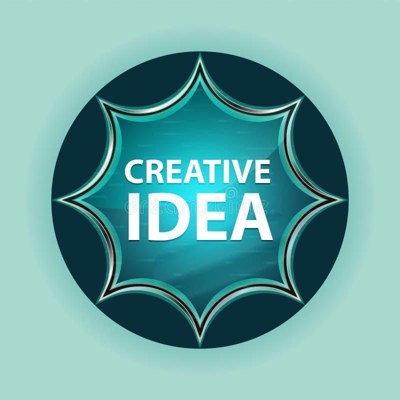 Creative Idea magical glassy sunburst blue button sky blue background. Creative Idea Isolated on magical glassy sunburst blue button sky blue background stock illustration