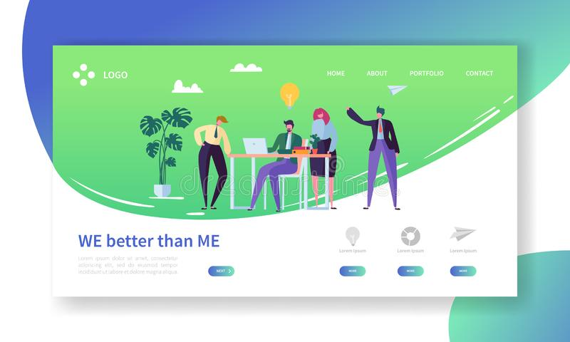 Creative Idea Office Character Landing Page Template. Business People Teamwork at Project Marketing Success. Advertising royalty free illustration