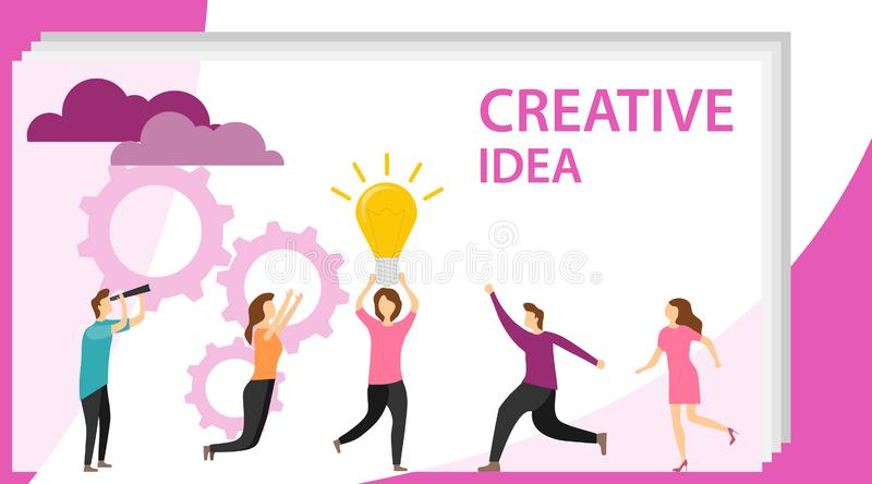 Creative idea. People are having fun with a new business idea. A woman holds a light bulb above her head. Vector il vector illustration