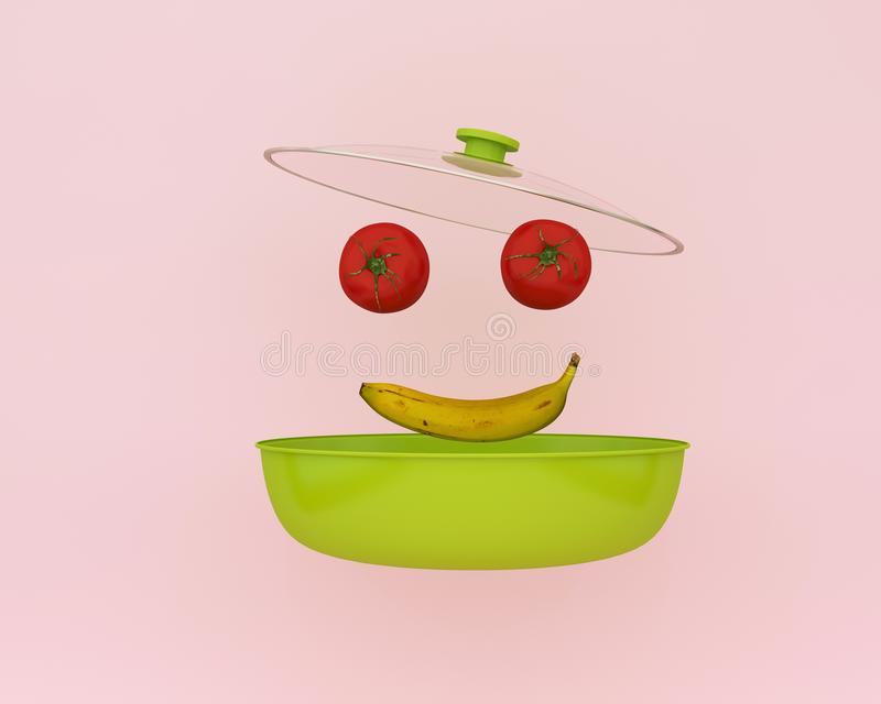 Creative idea smile made of tomatos and banana floating on pink color background with opening cooking pot. minimal food idea. An i. Dea creative to produce work royalty free stock photo