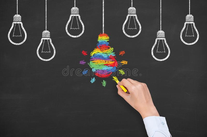 Creative idea solution concepts with light bulbs on a chalkboard background stock image