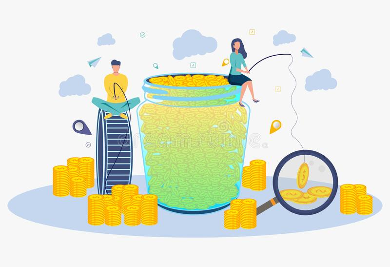 Creative idea to make a lot of money. The metaphor of a successful business. People catch money on the bait stock illustration