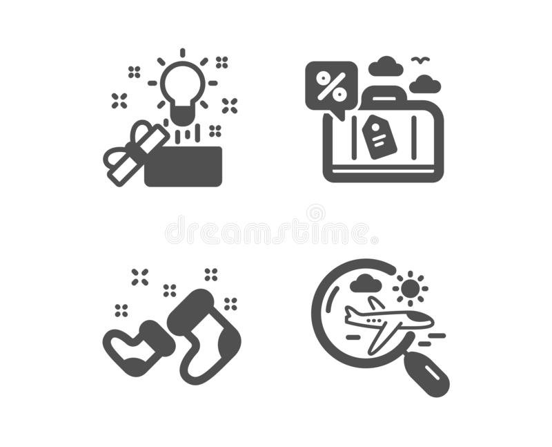 Creative idea, Travel loan and Santa boots icons. Search flight sign. Present box, Trip discount, New year. Vector royalty free illustration