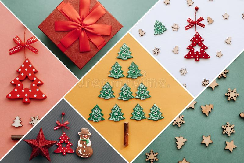Creative idea various Christmas toys and things on multi-colored backgrounds. stock photo