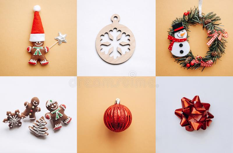 Creative idea various Christmas toys and things on multi-colored backgrounds. royalty free stock photo