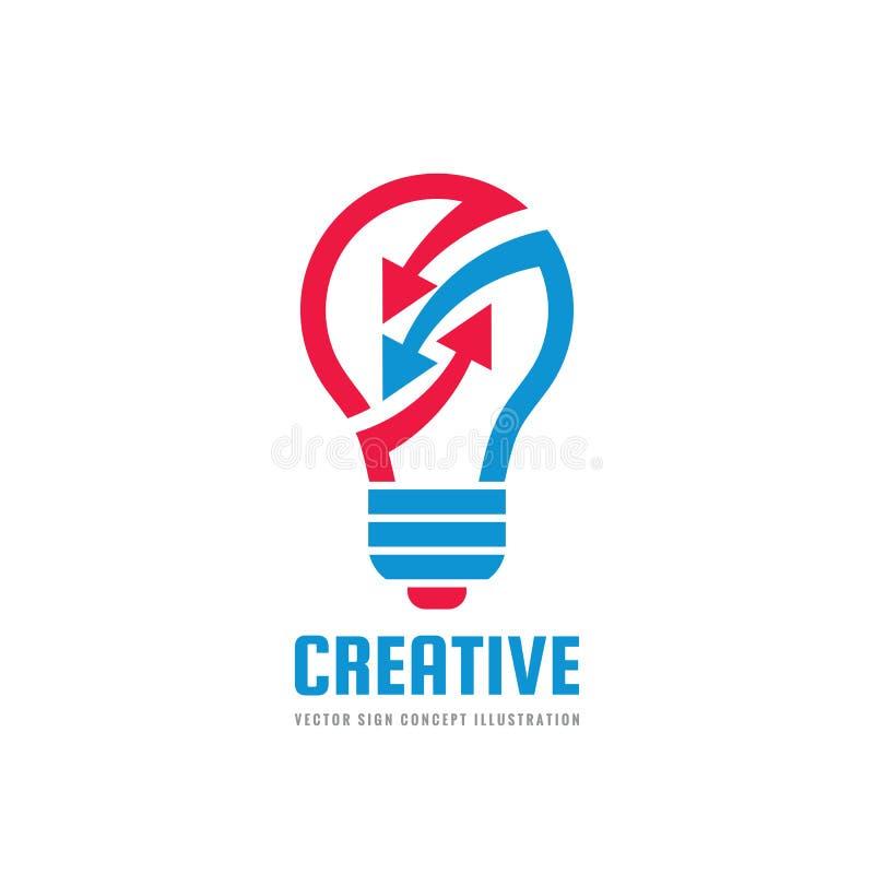 Creative idea - vector logo template concept illustration. Lightbulb and arrows icon. Electric lamp positive symbol. Brainstorm sign. Graphic design element stock illustration