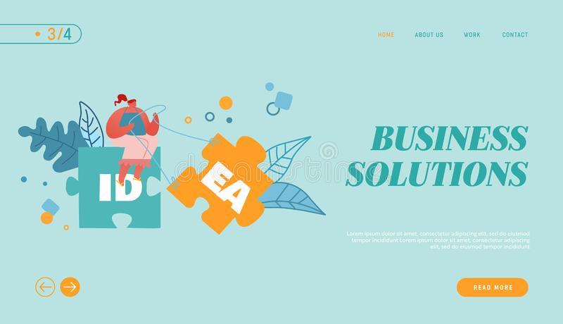 Creative Idea Website Landing Page. Woman Sitting on Jigsaw Puzzle Element Pulling another Part to Set Up Construction vector illustration