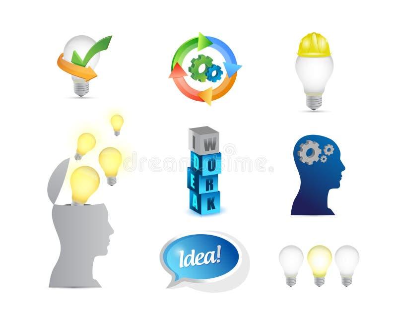 Creative ideas. business ideas concept icon set. Illustration design over white vector illustration