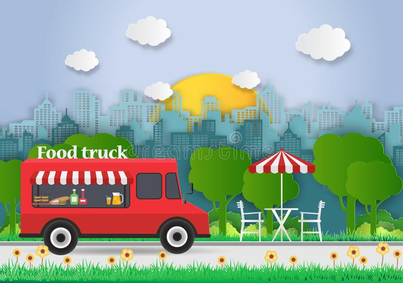 Creative ideas of Food Truck with Food delivery. Picnic. Mobile vector illustration