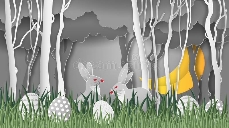 Creative ideas of happy Easter day egg and rabbit cute in grass, and in the forest with half moon at night. paper art and stock illustration