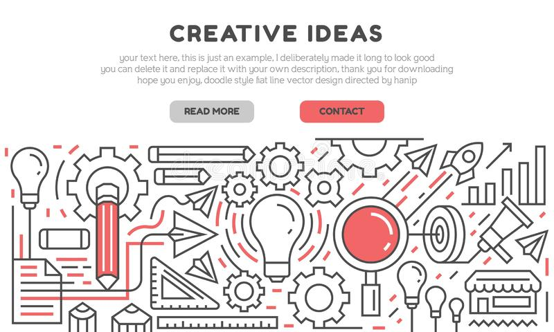 Creative ideas landing page and banner for website development. Flat line design vector with red color for content and project. Flat line design vector with red royalty free illustration