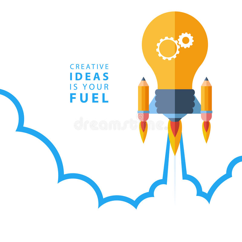 Flat Design Ideas Part - 29: Download Creative Ideas Is Your Fuel. Flat Design Colorful Vector  Illustration Concept. Stock Vector