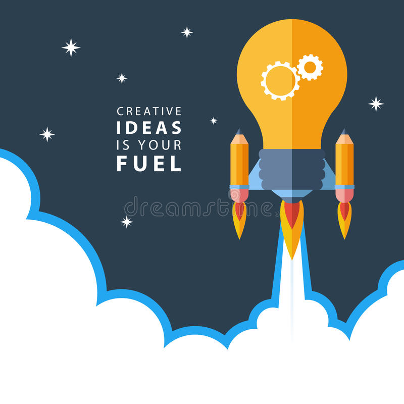 Creative ideas is your fuel. Flat design colorful vector illustration concept for creativity, big idea. Creative ideas is your fuel. Flat design colorful vector stock illustration