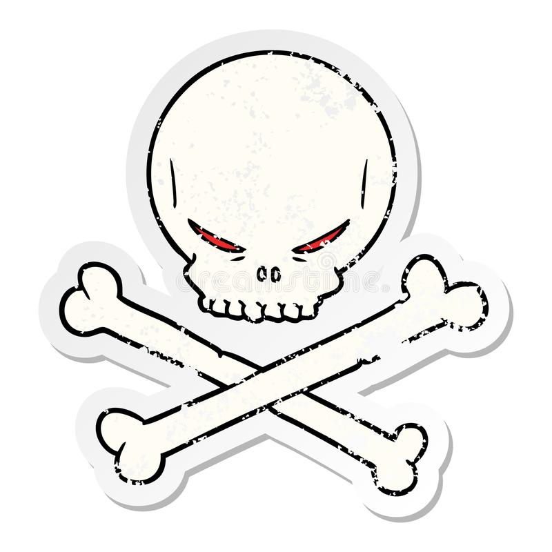 Skull Spooky Scary Halloween Cute Cartoon Sticker Stick Icon Decal Label Drawing Illustration Retro Doodle Freehand Free Hand Drawn Quirky Art Artwork Funny Character Crossbones Bones Pirate Sign Symbol Stock Illustrations
