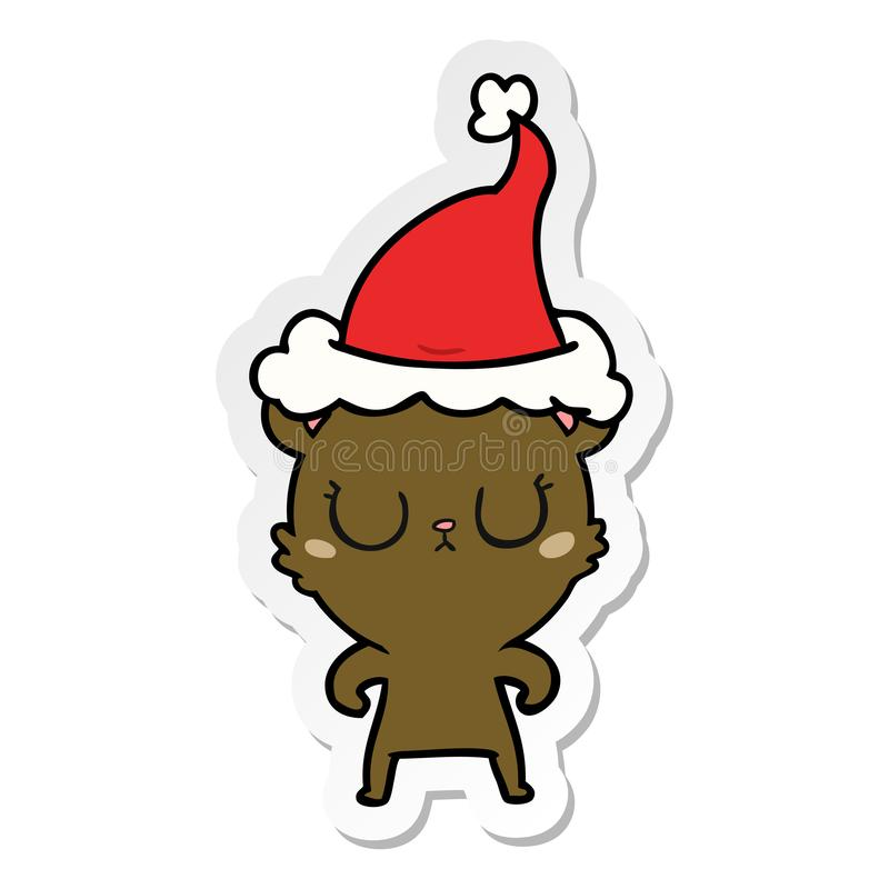 Peaceful sticker cartoon of a bear wearing santa hat. A creative illustrated peaceful sticker cartoon of a bear wearing santa hat vector illustration