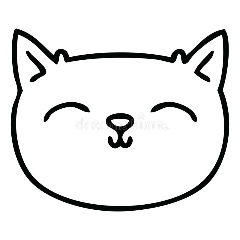 Quirky Line Drawing Cartoon Cat Face Stock Vector Illustration