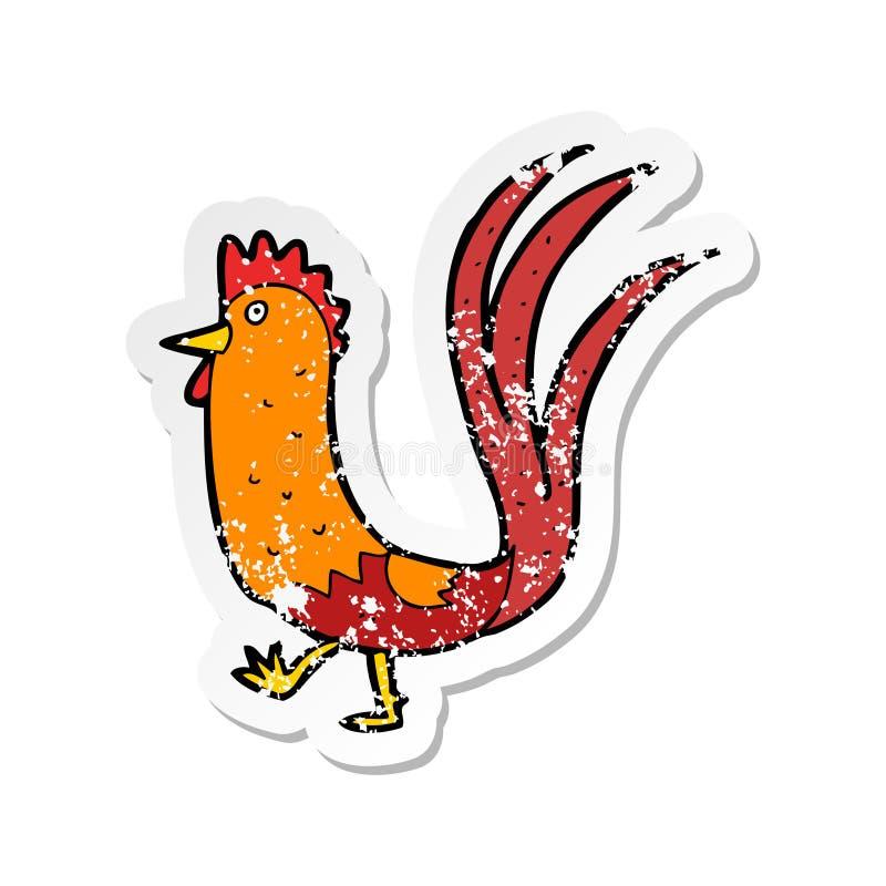 Retro distressed sticker of a cartoon cockerel. A creative illustrated retro distressed sticker of a cartoon cockerel vector illustration