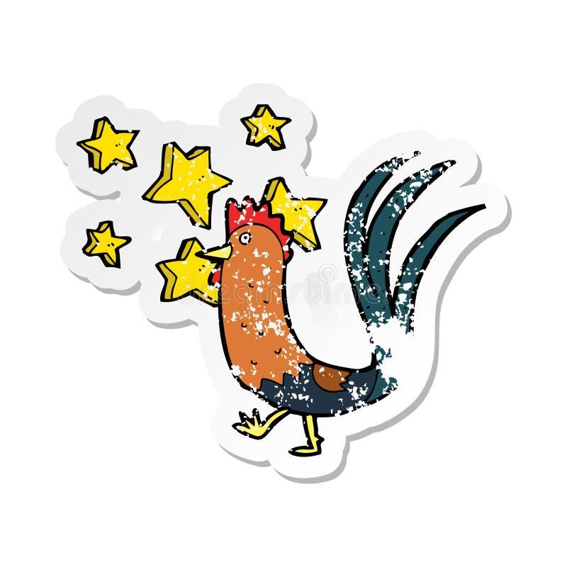 Retro distressed sticker of a cartoon prize cockerel. A creative illustrated retro distressed sticker of a cartoon prize cockerel royalty free illustration