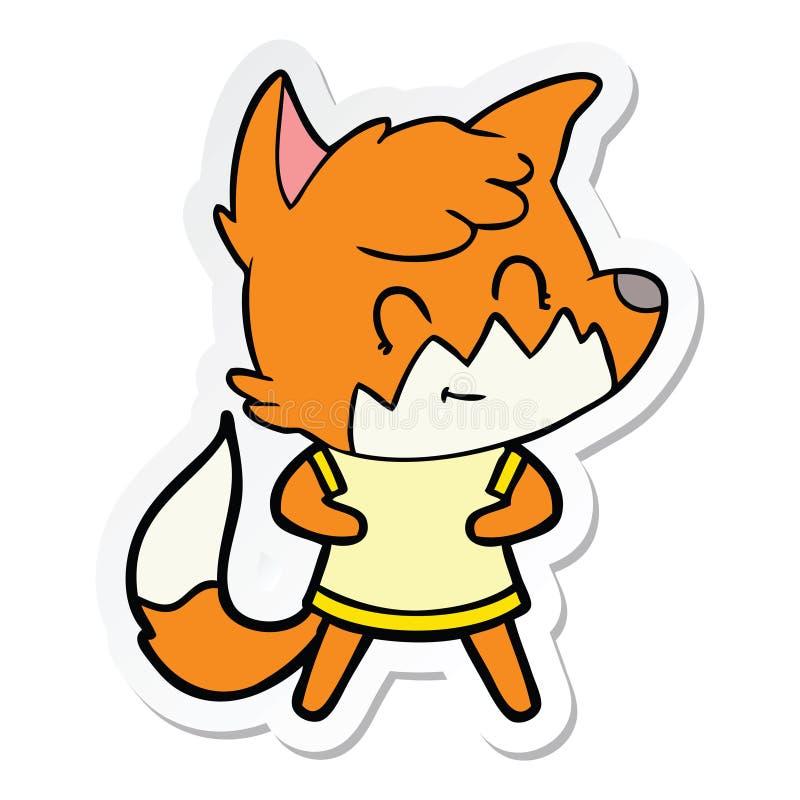 sticker of a cartoon happy fox royalty free stock photography