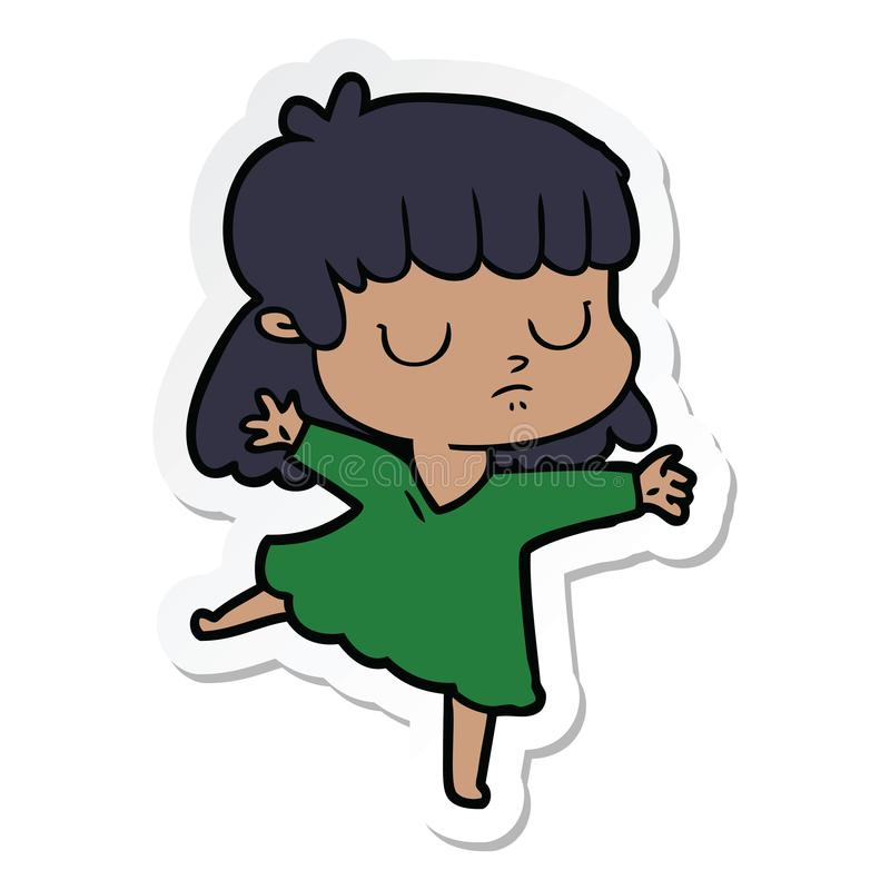 Sticker of a cartoon indifferent woman dancing. A creative illustrated sticker of a cartoon indifferent woman dancing vector illustration