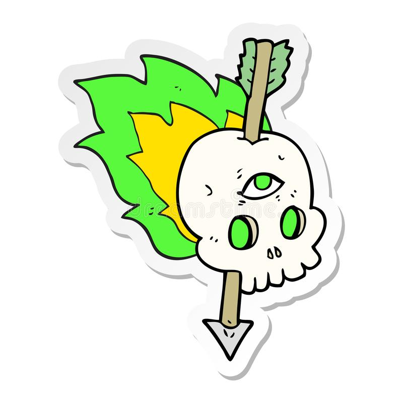 Sticker of a cartoon magic skull with arrow through brain. A creative illustrated sticker of a cartoon magic skull with arrow through brain royalty free illustration