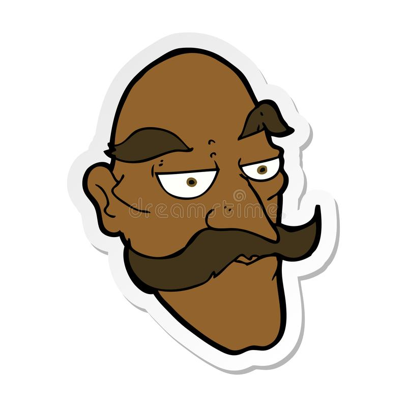 Sticker of a cartoon old man face. A creative illustrated sticker of a cartoon old man face royalty free illustration