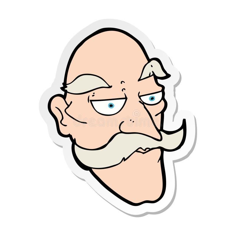 Sticker of a cartoon old man face. A creative illustrated sticker of a cartoon old man face vector illustration