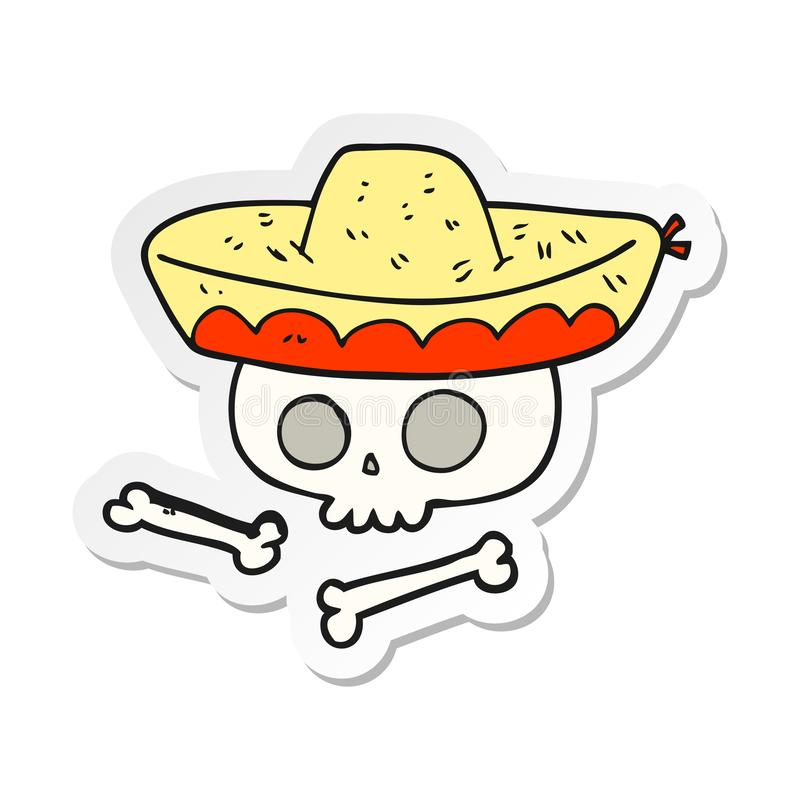 Sticker of a cartoon skull in mexican hat. A creative illustrated sticker of a cartoon skull in mexican hat vector illustration