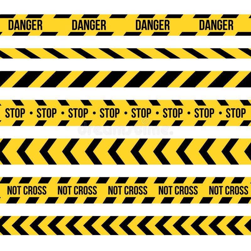 Creative illustration of black and yellow police stripe border. Set of danger caution seamless tapes. Art design line of cr stock illustration