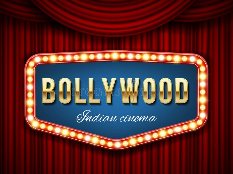 Creative illustration of bollywood cinema background. Art design indian movie, cinematography, theater banner or poster template. Abstract concept graphic film stock illustration