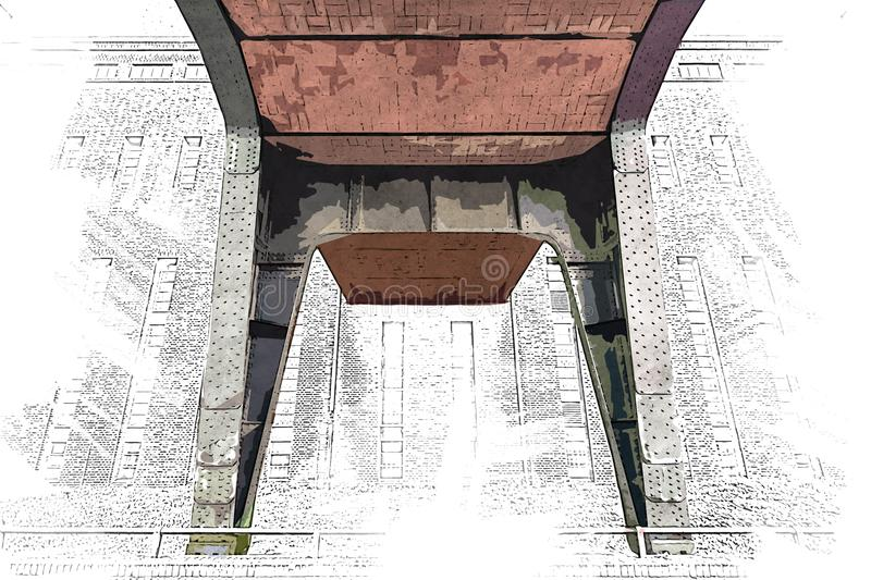 Creative Illustration - Brick and Steel Pillar of a Bridge, in front of a Brick Building - Digital Painting stock illustration
