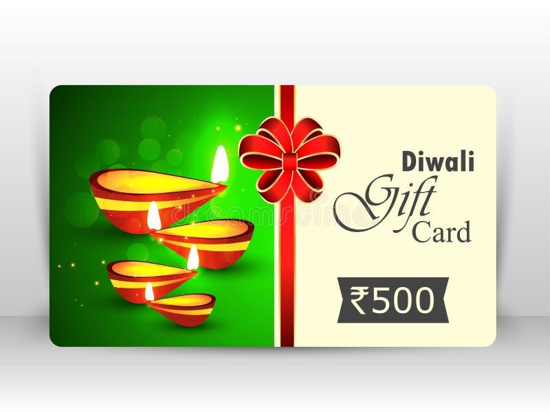 Creative illustration of burning diya with fireworks, diwali gift card vector illustration