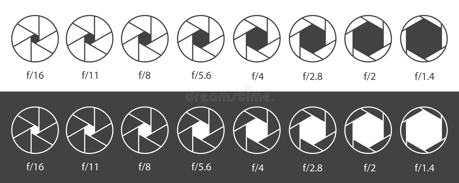 Creative illustration of camera shutter aperture with different iso isolated on background. Art design monochrome diagrams. Collection. Abstract concept graphic royalty free illustration
