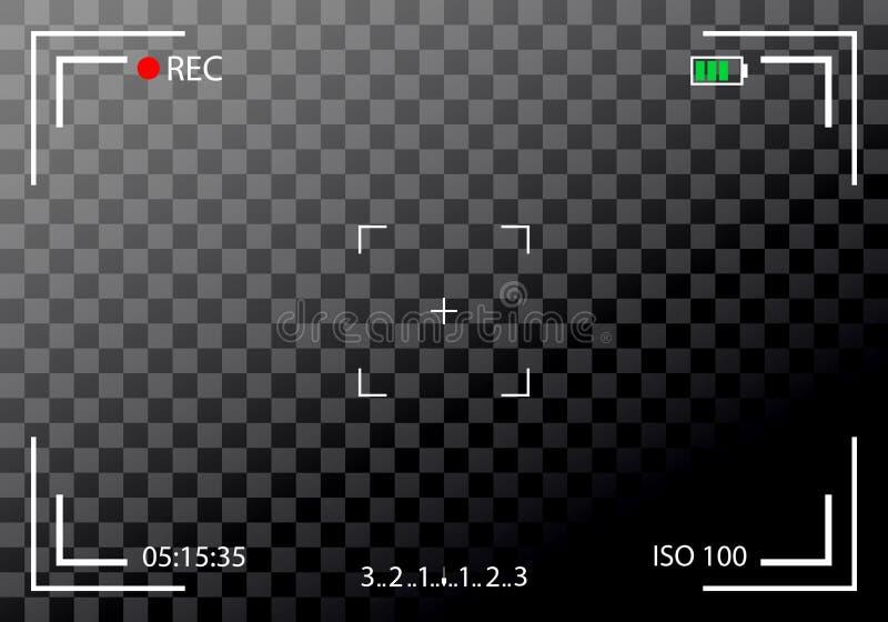 Creative illustration of camera viewfinder on background. Art design mirorless, DSLR. Digital focus. Abstract conc stock illustration