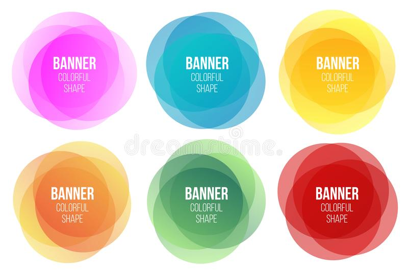 Creative illustration of colorful round abstract banners. Overlay colors shape art design. Fun label form. Paper style spot vector illustration