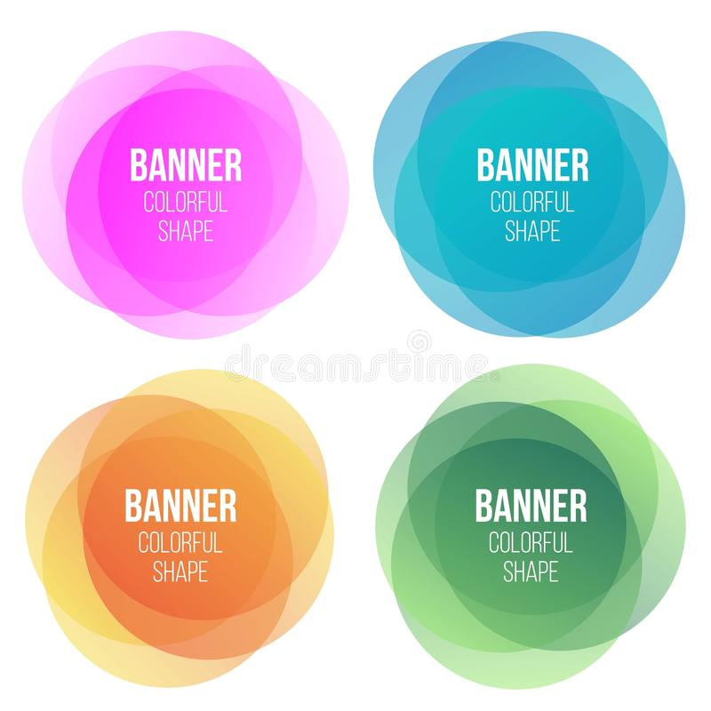 Creative illustration of colorful round abstract banners. Overlay colors shape art design. Fun label form. Paper style spot royalty free illustration