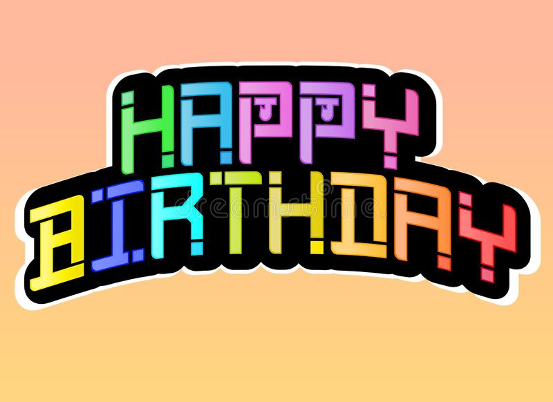 Creative Illustration of a Colourful decorative Happy birthday design on a gradient background. vector illustration