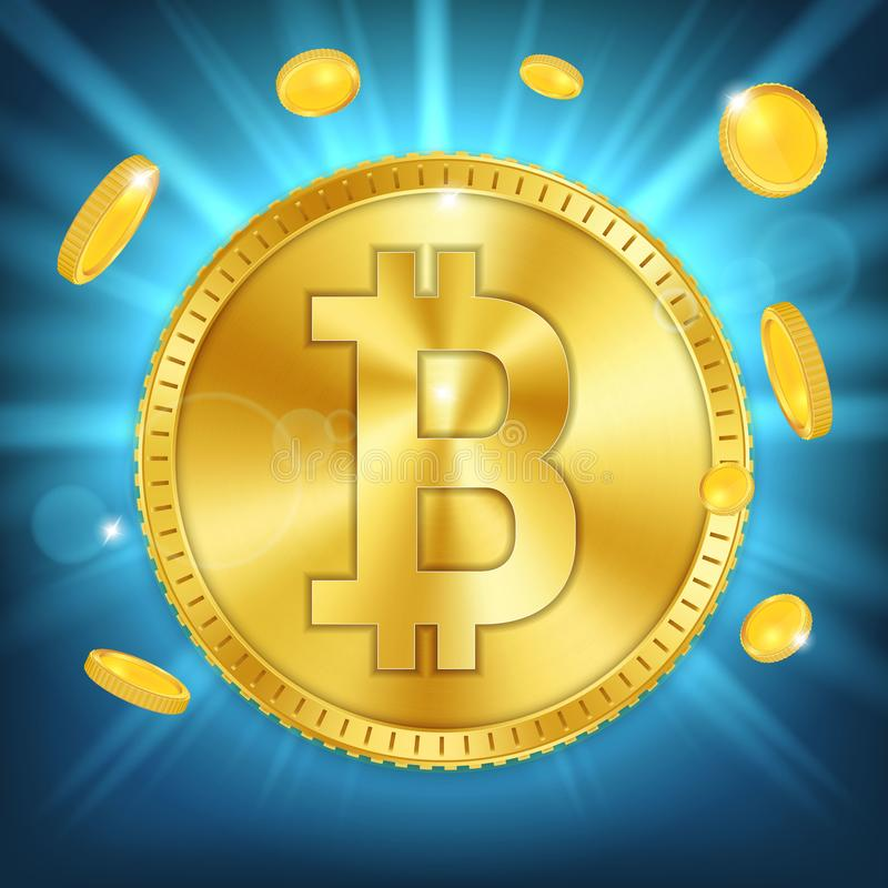 Creative illustration of 3d golden bitcoin coin on background. Art design digital currency, cryptocurrency. Stock. Market electronic money. Blockchain, ico vector illustration