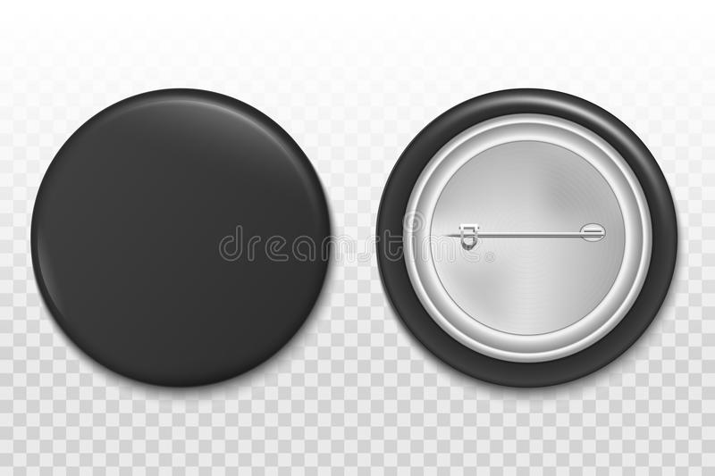 Creative illustration of 3d pin button isolated on transparent background. Front and back side. Art design blank badge broo. Ch mockup template. Abstract graphic stock illustration
